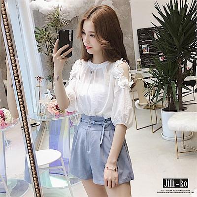 Jilli-ko 韓版立體貼花氣質雪紡衫- 淺藍/白