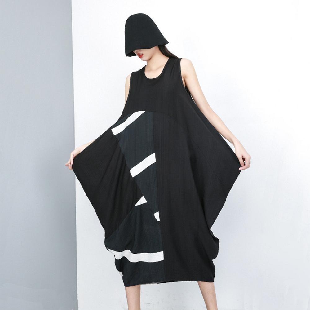 棉麻拼接圓領不規則連衣裙-F-CLORI