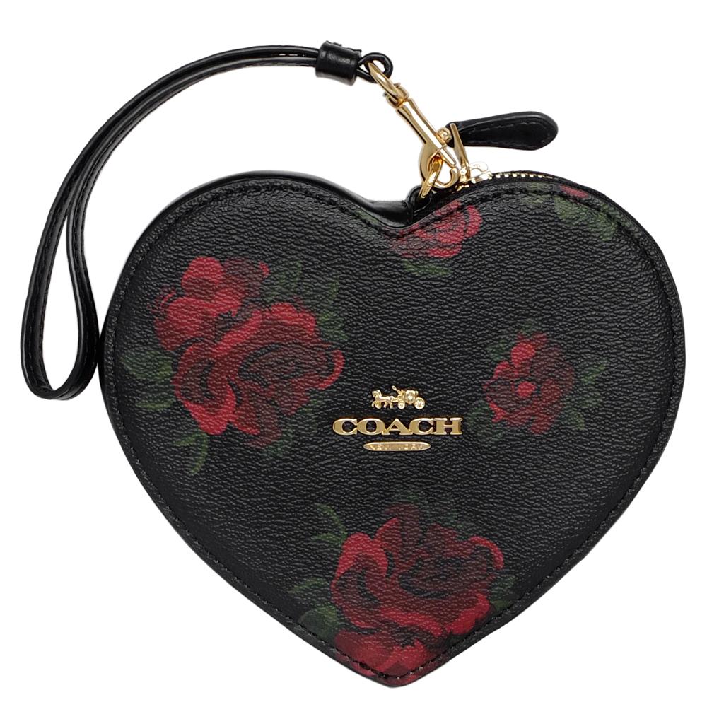 COACH黑紅花朵圖印PVC真皮掛帶大愛心手拿包