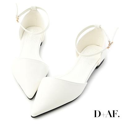 D+AF 粉彩印象.尖頭側空平底瑪莉珍鞋*白