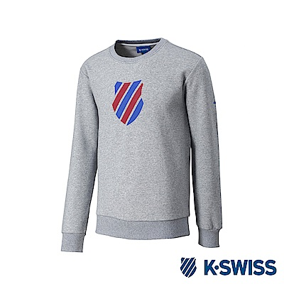 K-SWISS Crew Neck Sweatshirt 刷毛圓領上衣-男-灰