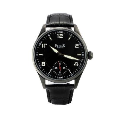 FIBER 法柏 領航者手上鍊小紅秒針機械腕錶-IP黑/42mm