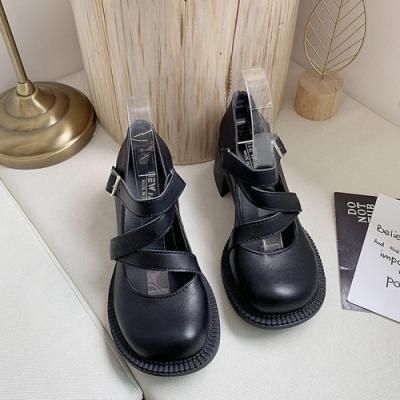 KEITH-WILL時尚鞋館 舞漾花蝶素面大頭跟鞋-黑
