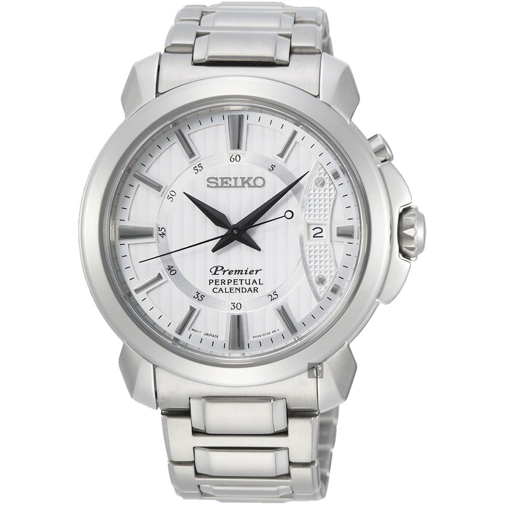 (無卡分期6期)SEIKO 精工 Premier 紳士萬年曆手錶 (SNQ155J1)