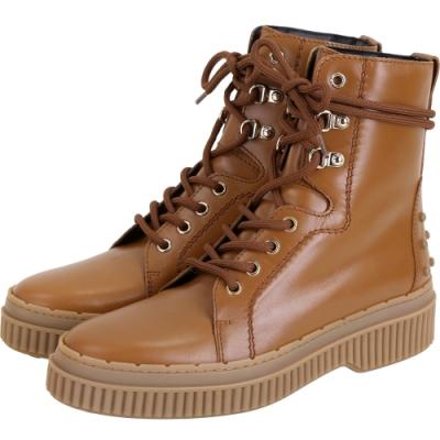 TOD'S 豆豆裝飾繫帶牛皮短靴(女款/棕色)