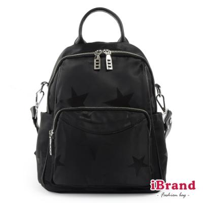 iBrand後背包 真皮實用多口袋星布尼龍後背包-黑色