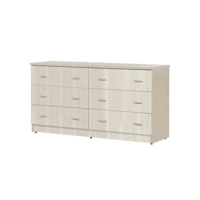 韓菲-白橡色六屜防潮塑鋼斗櫃151.5x48x81.5cm
