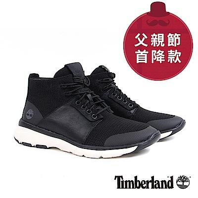 Timberland 男款黑色布面皮革淺口鞋