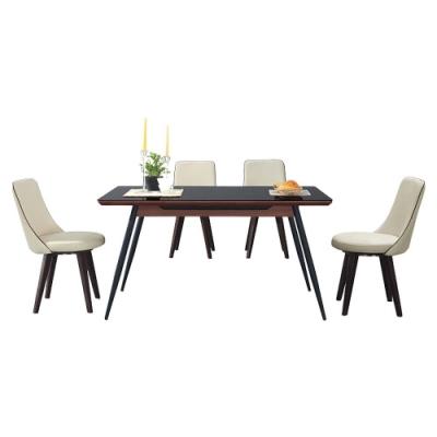 柏蒂家居-羅琳4.5尺時尚黑玻璃餐桌椅組(一桌四椅)-135x80x76cm