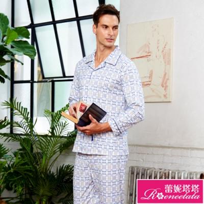 睡衣 針織棉男性長袖褲裝睡衣(R88220-6藍灰格紋) 蕾妮塔塔