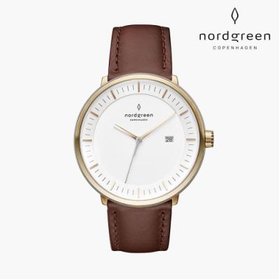 Nordgreen Philosopher 哲學家 香檳金系列 復古棕真皮錶帶手錶 36mm
