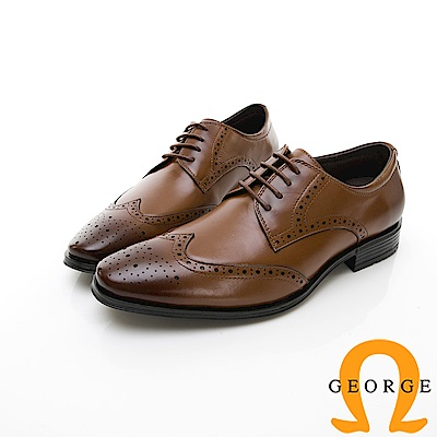 【GEORGE 喬治皮鞋】尊爵系列 漸層雕花綁帶紳士皮鞋-棕色