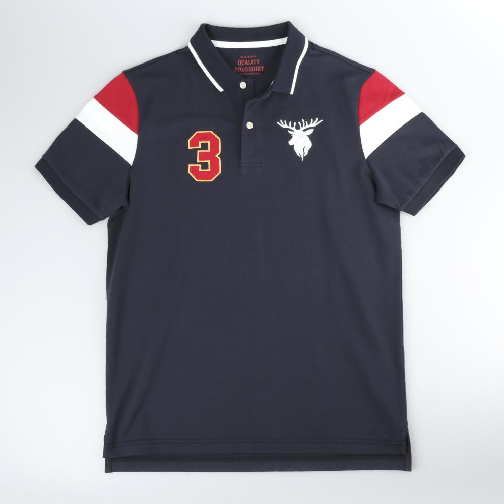 GIORDANO 男裝經典配色麋鹿刺繡短袖POLO衫-31 標誌海軍藍