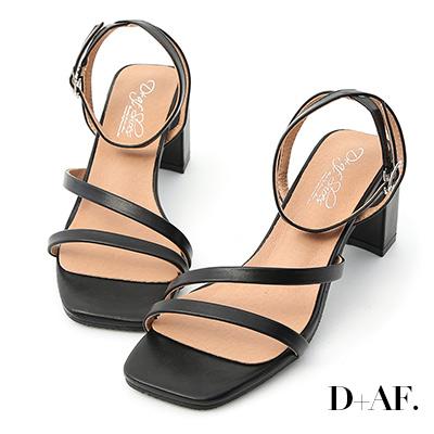 D+AF 名模私著.一字斜帶繫踝高跟涼鞋*黑