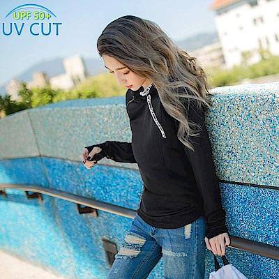 台灣製造~抗UV保暖磨毛抽繩字母連帽運動上衣-OB大尺碼