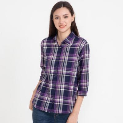 bossini女裝-格紋襯衫03淡紫