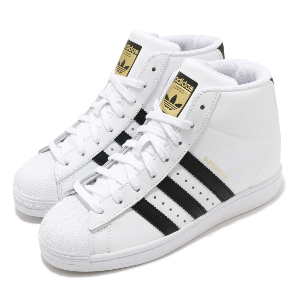 adidas 休閒鞋 Superstar 復古 高筒 女鞋 愛迪達 內增高 金標 皮革 貝殼頭 白 黑 FW0118