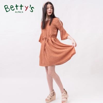 betty's貝蒂思 圓點印花挖肩收腰鐘型袖洋裝(橘色)