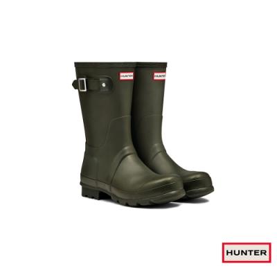 HUNTER - 男鞋-霧面短靴 - 橄欖色