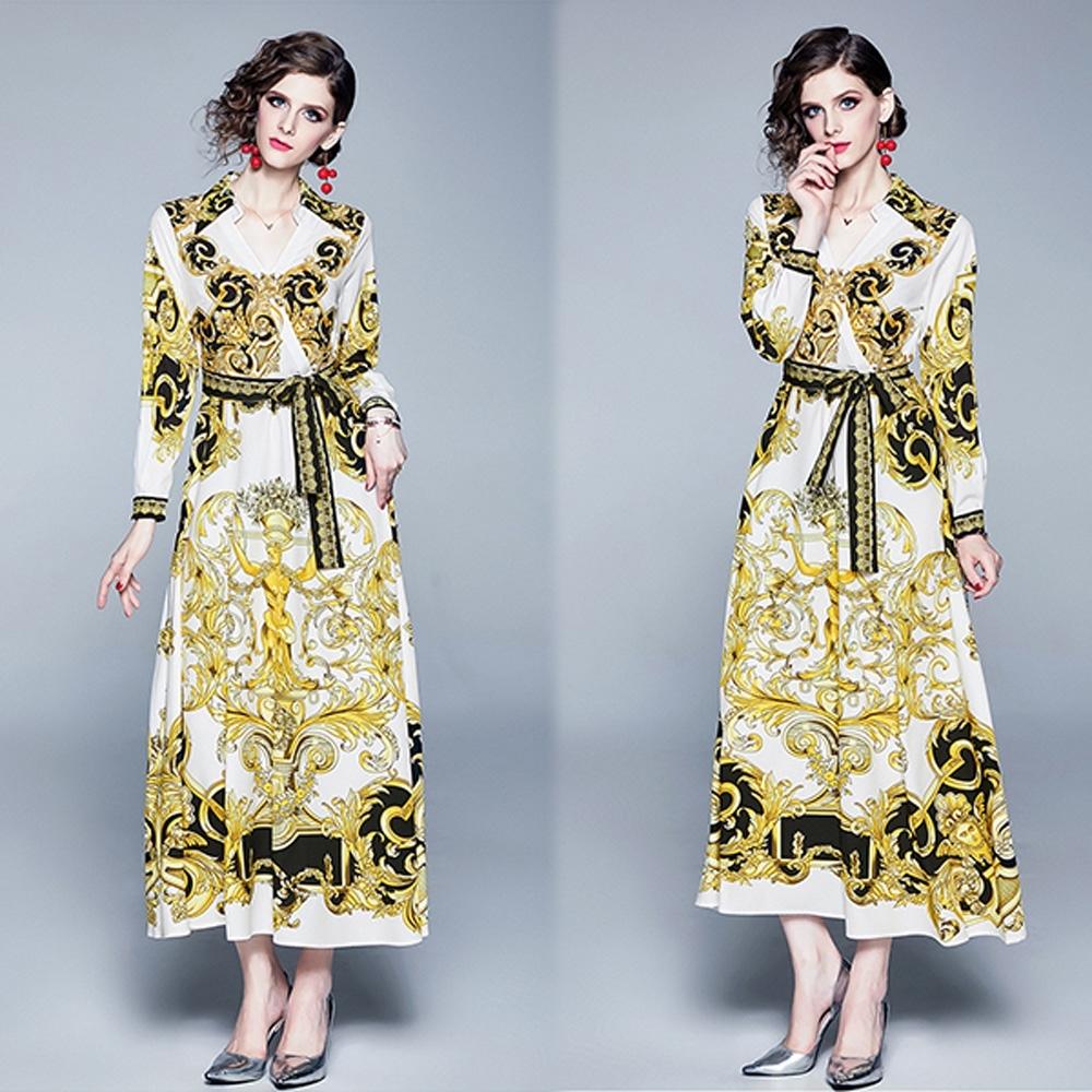 【KEITH-WILL】宮廷奢華復古修身洋裝-1色