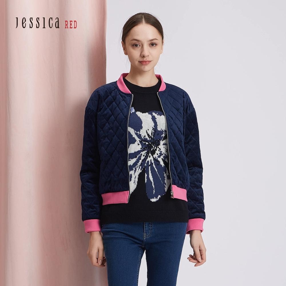 JESSICA RED - 深藍色絨面撞色滾邊拉鍊短夾克外套