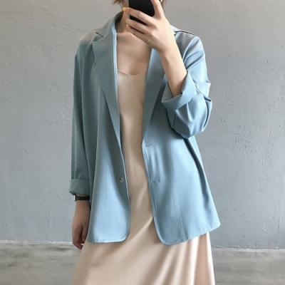 初色  純色薄款西裝外套-共3色-(M/L可選)