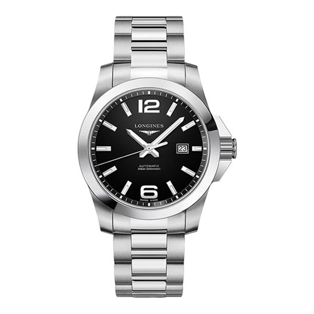 LONGINES 浪琴 征服者300米黑面機械腕錶(L37784586)x43mm