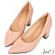 Ann'S加上優雅高跟版-石頭紋沙發後跟高跟尖頭鞋-粉 product thumbnail 1