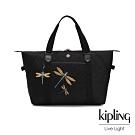 Kipling Christine Lau聯名款-精緻質感蜻蜓刺繡手提側背包-ART M