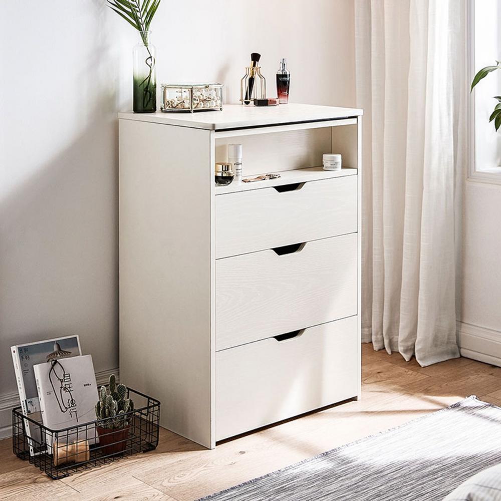 hoi! 林氏木業北歐簡約附鏡可收納椅化妝桌組 JF5C-A 白色 (H014287800)