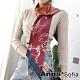 AnnaSofia 鎖鏈雙面圖斜角 窄版緞面仿絲領巾絲巾圍巾(紅橘系) product thumbnail 1