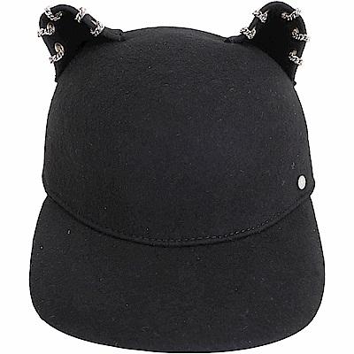 KARL LAGERFELD Choupette 黑色鍊飾貓耳造型羊毛棒球帽