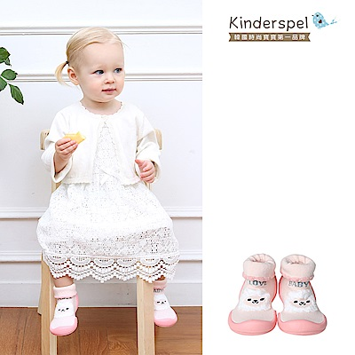 【Kinderspel】套腳腳襪型學步鞋-13CM(粉紅羊咩咩)