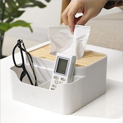 KM生活 日式簡約多功能木蓋紙巾盒/桌面收納盒
