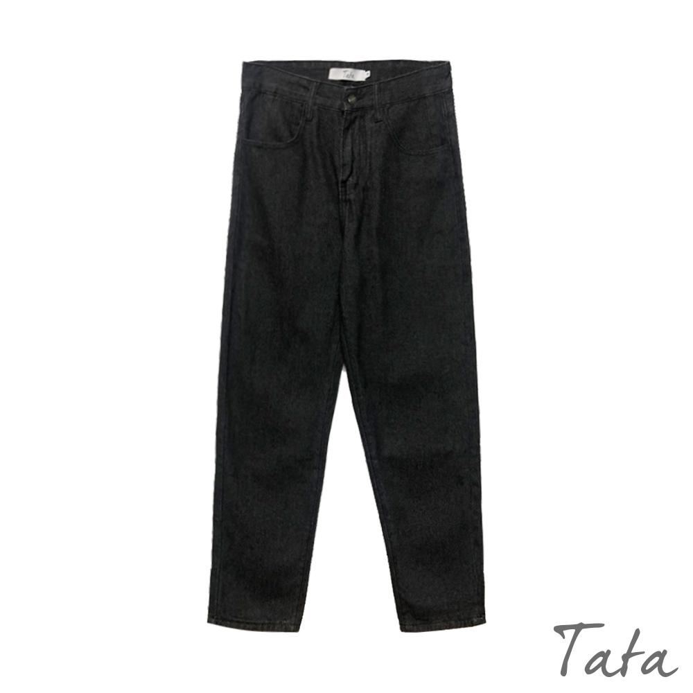素面中腰寬長褲 TATA-(M~XL) (黑色)