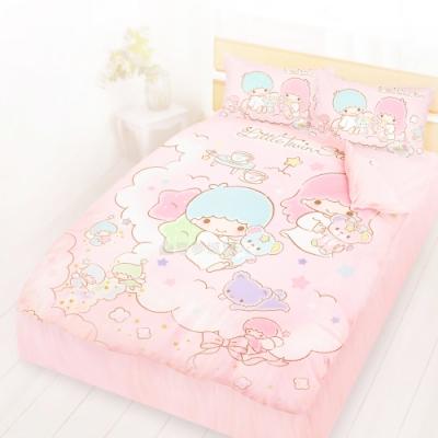 享夢城堡 精梳棉雙人床包涼被四件組-雙星仙子Little Twin Stars 小熊扮家家-粉