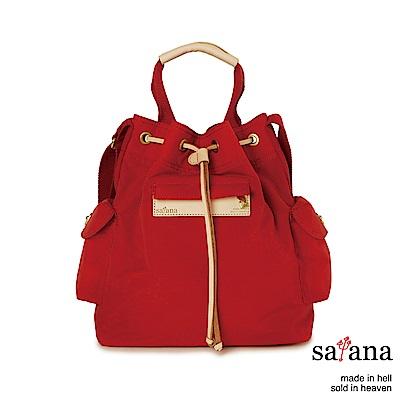 satana - Soldier 小抽繩水桶包 - 紅色