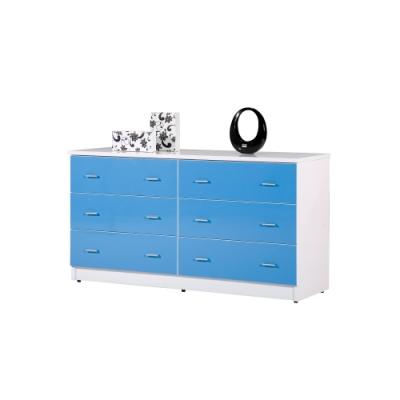 韓菲-藍白色六屜防潮塑鋼斗櫃151.5x48x81.5cm