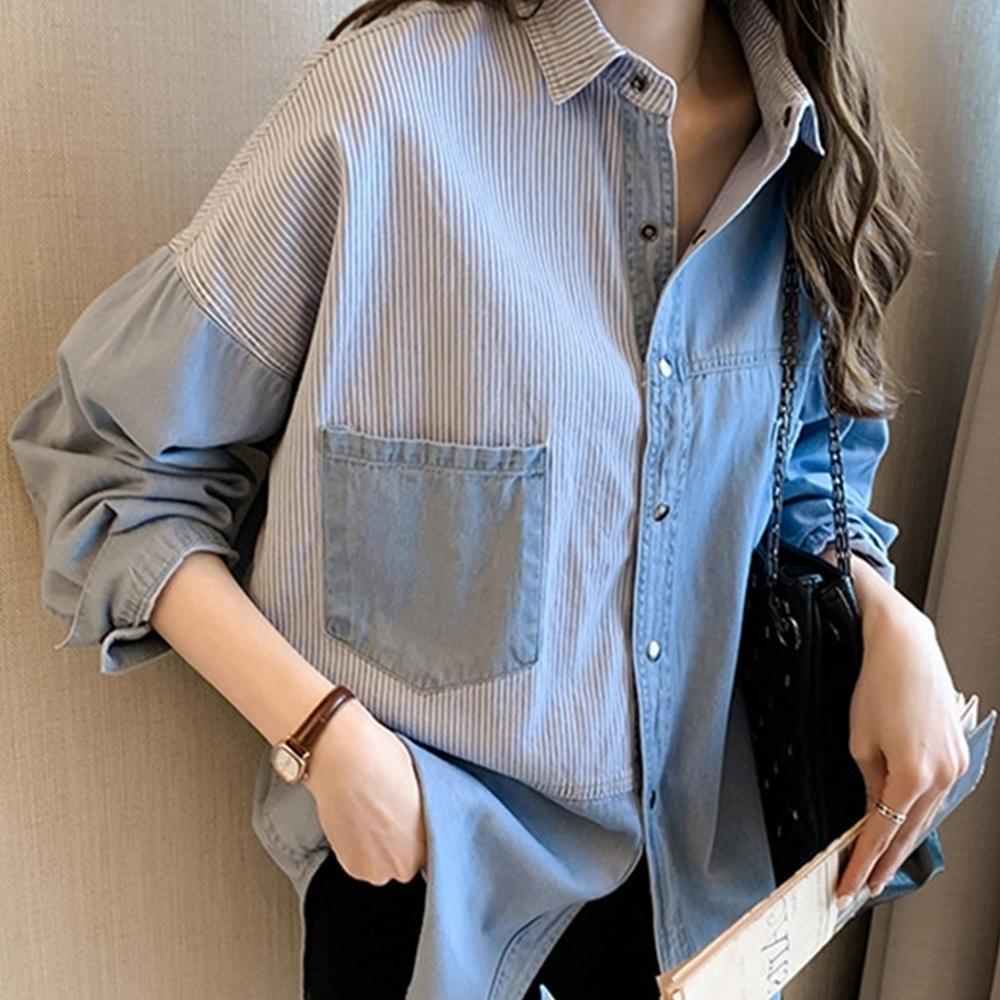 [時時樂限定]  初色  拼接條紋牛仔襯衫-共2色-(M-XL可選)