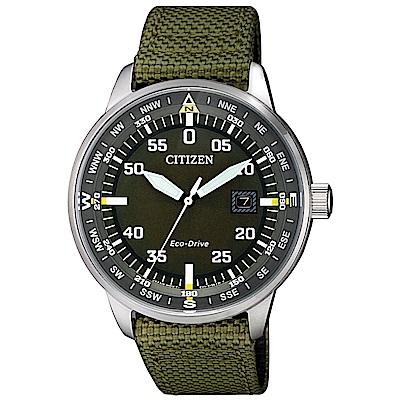 CITIZEN 星辰光動能軍風時尚手錶(BM7390-22X)-深綠/42mm