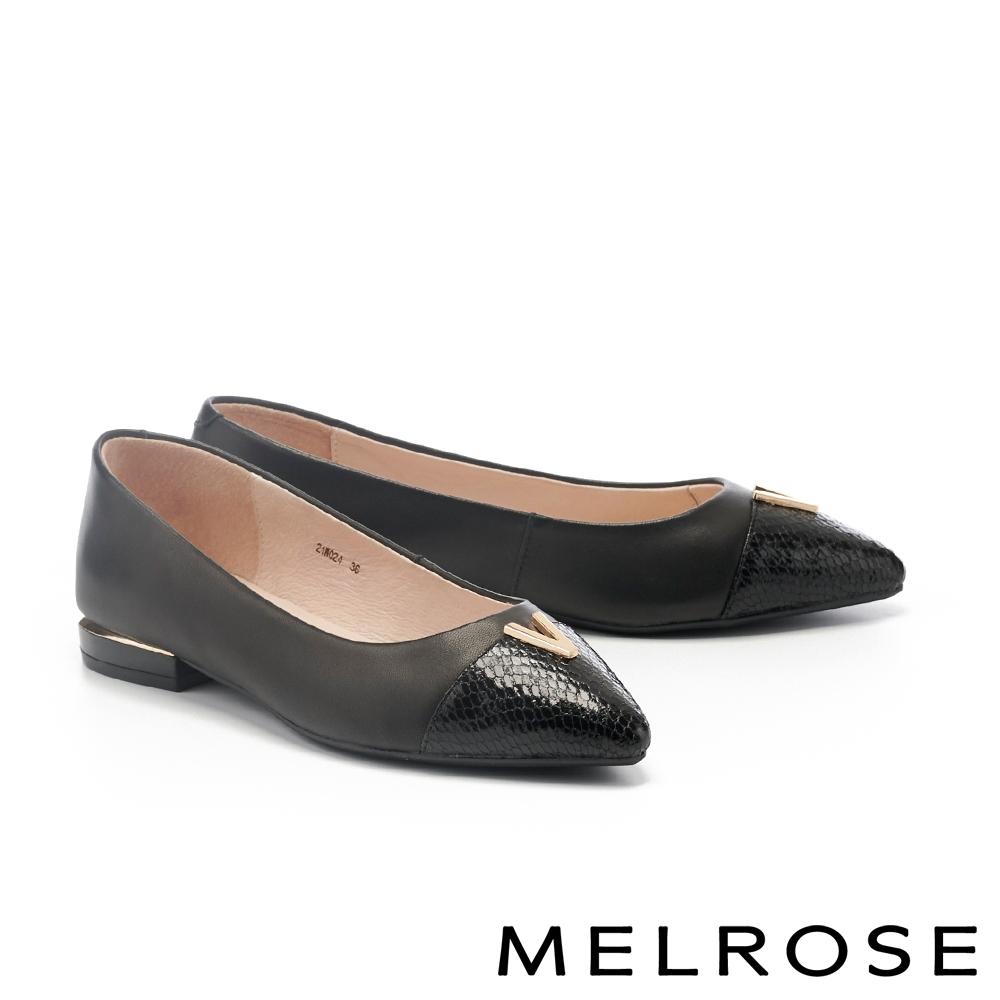 高跟鞋 MELROSE 異材質拼接蝴蝶扭結羊皮小方頭高跟鞋-黑