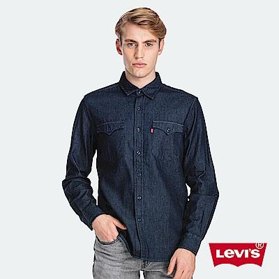 Levis 男款 牛仔襯衫 休閒版型 背部雷射Serif Logo 黑藍