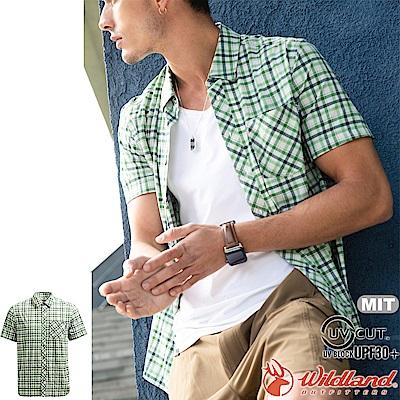 Wildland 荒野 0A71208-67湖水綠 男彈性抗UV格子短袖襯衫
