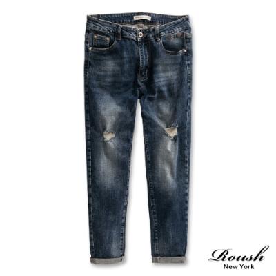 Roush 高磅數經典藍色破壞水洗牛仔褲