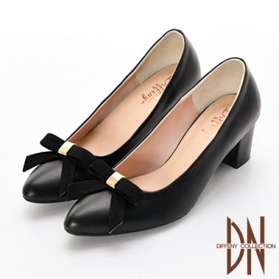DN 優雅氣質 MIT蝴蝶結素面尖頭跟鞋-黑