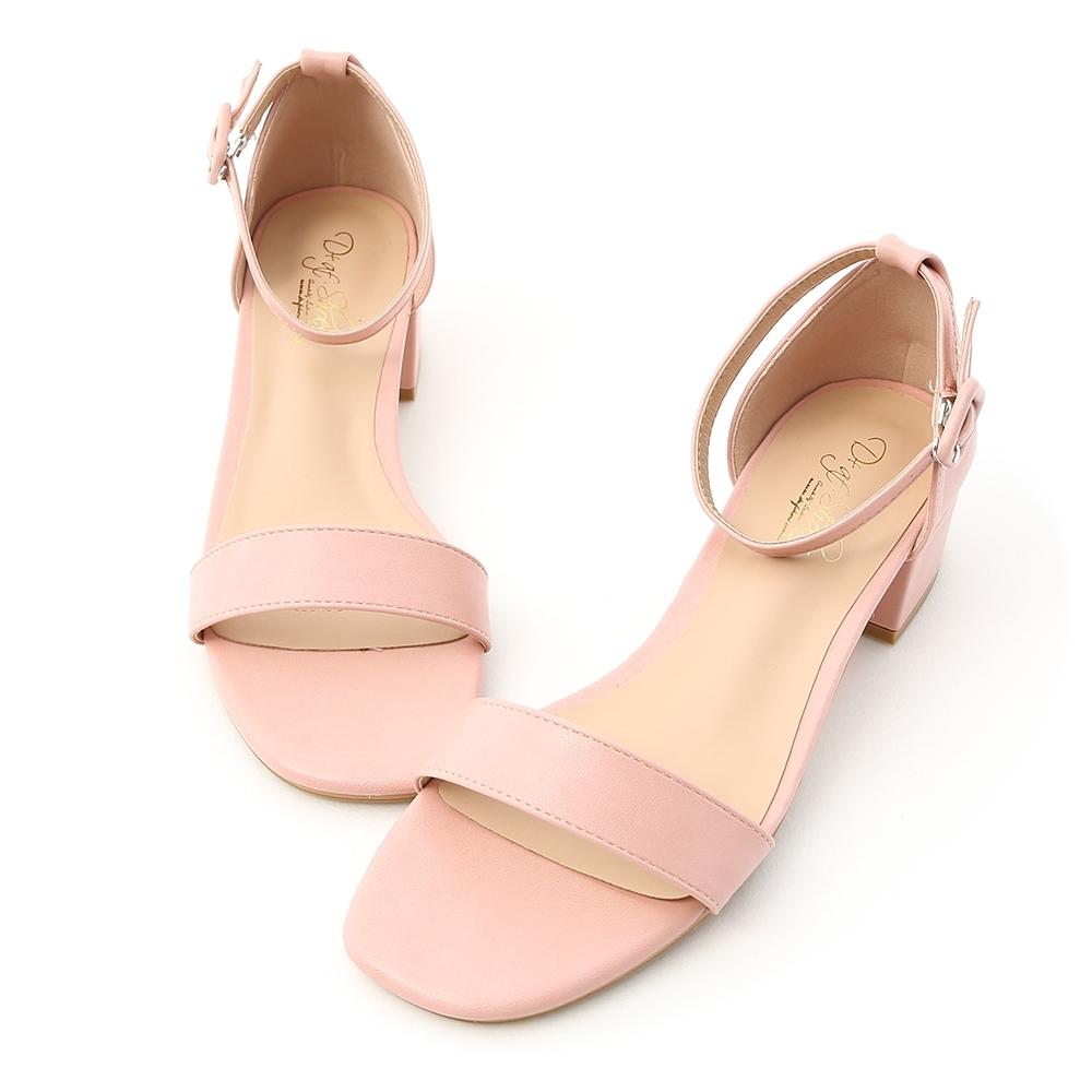 D+AF 夏日甜美.一字繫踝方頭低跟涼鞋*粉