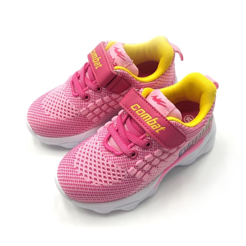 COMBAT艾樂跑童鞋-螢光飛織運動鞋-粉/藍(TD6283)