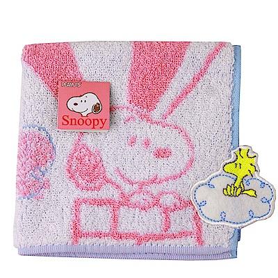 SNOOPY史努比 熱氣球圖案 小方巾(粉色)