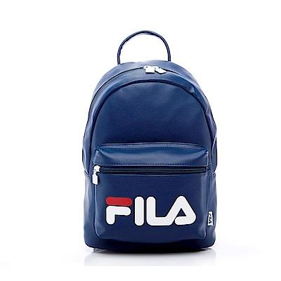 FILA 皮革小型雙肩後背包-藍 BPS-5401-BU
