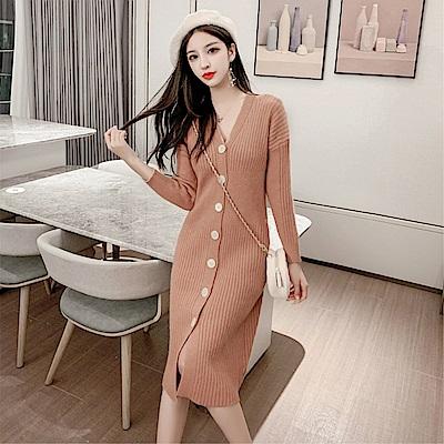 DABI 韓系時尚針織淑女修身V領單排扣長版長袖洋裝